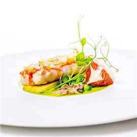 Seafood entre with garnish