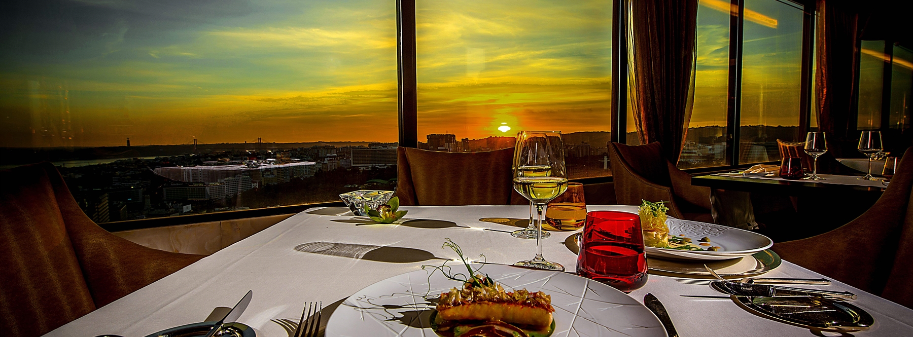 Table set at sunset